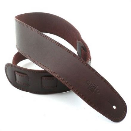 "DSL  2.5"" Single Ply  Leather Saddle Brown/Brown Stitch Guitar Strap"